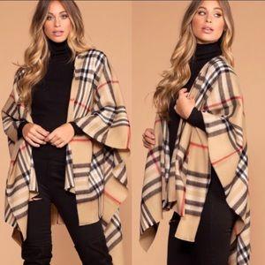 Sweaters - Plaid Poncho Scarf Wrap